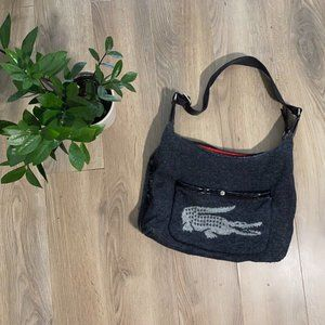 LACOSTE Charcoal Wool Logo Shoulder Bag with Front Pouch and Nylon Strap